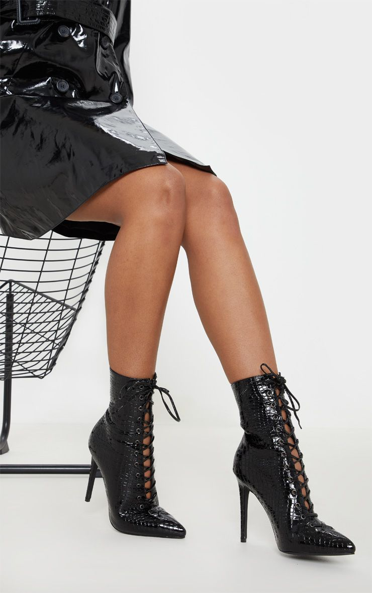 BLACK CROC LACE UP HIGH POINT ANKLE